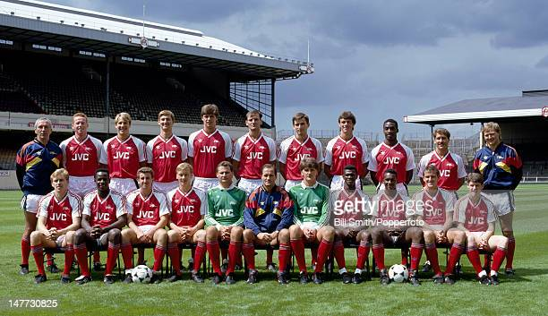 The Arsenal 1st team squad at Highbury Stadium in London circa August 1988 Back row Theo Foley Perry Groves Paul Merson Tony Adams Niall Quinn Steve...