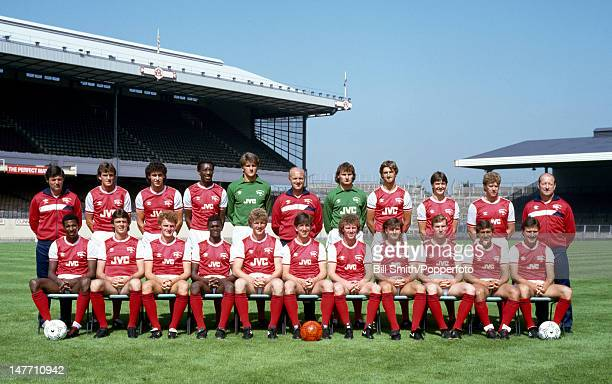 The Arsenal 1st team squad pictured at Highbury Stadium in London circa August 1985 Back row John Cartwright Martin Hayes Martin Keown Chris Whyte...