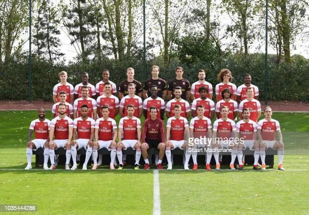 The Arsenal 1st team squad season 2018/19 Back Row LR Emile Smith Rowe Eddie Nketiah Joe WIllock Bernd Leno Petr Cech Emiliano Martinez Carl...