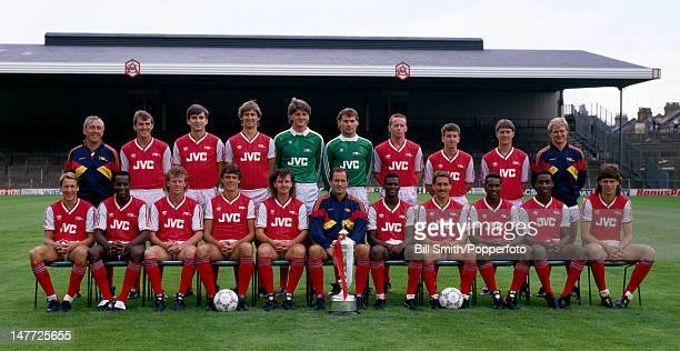 The Arsenal 1st team squad with the Littlewoods League Cup at Highbury Stadium in London August 1987 Back row Theo Foley Martin Hayes Alan Smith Tony...