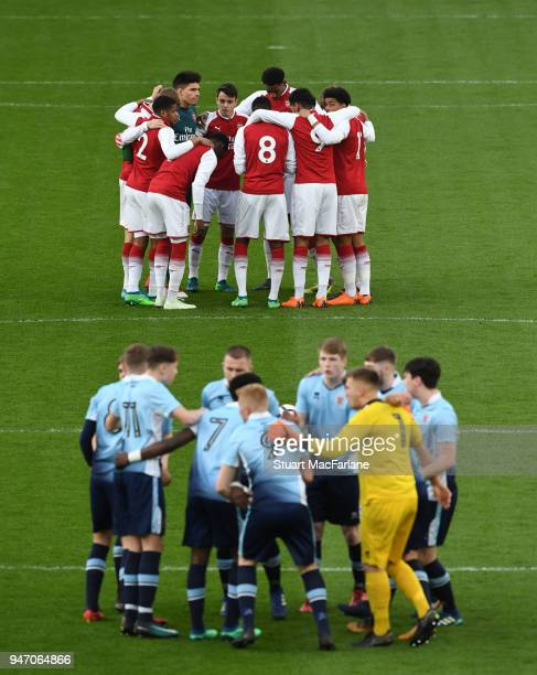The Arsenal and Blackpool teams before the FA Youth Cup Semi Final 2nd Leg match between Arsenal and Blackpool at Emirates Stadium on April 16 2018...