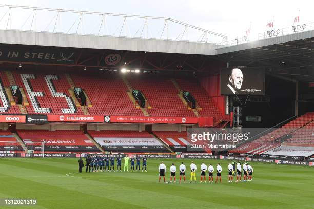 The Arsenal and Sheffield United players observe 2 minutes silence for HRH Prince Philip before the Premier League match between Sheffield United and...