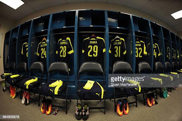 The Arsenal changing room before pre season friendly match between Arsenal and CD Guadalajara at StubHub Center on July 31 2016 in Carson California