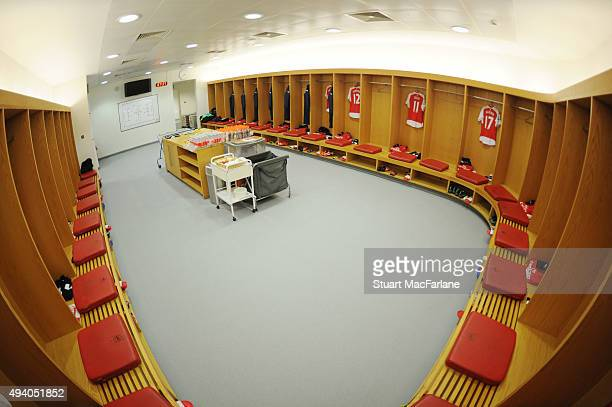 The Arsenal changing room before the Barclays Premier League match between Arsenal and Everton at Emirates Stadium on October 24 2015 in London...