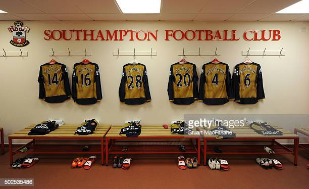 The Arsenal changing room before the Barclays Premier League match between Southampton and Arsenal at St Mary's Stadium on December 26 2015 in...