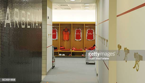 The Arsenal changing room before the Barclays Premier League match between Arsenal and AFC Bournemouth at Emirates Stadium on December 28 2015 in...