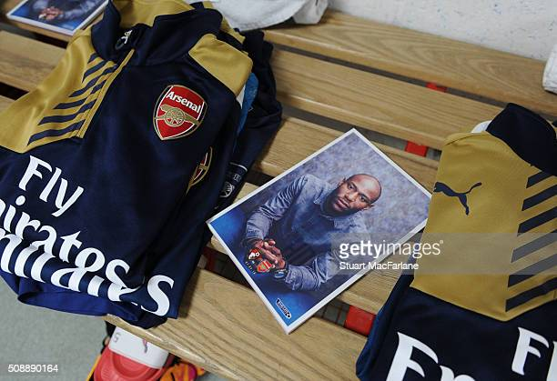 The Arsenal changing room before the Barclays Premier League match between AFC Bournemouth and Arsenal at The Vitality Stadium on February 7 2016 in...