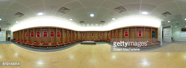 The Arsenal changing room before the Barclays Premier League match between Arsenal and Leicester City at Emirates Stadium on February 14 2016 in...