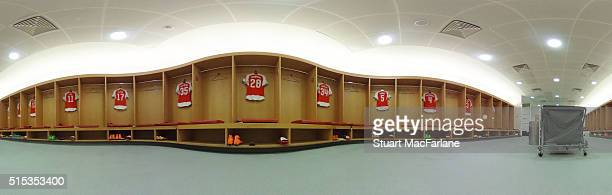 The Arsenal changing room before the Emirates FA Cup Sixth Round match between Arsenal and Watford at Emirates Stadium on March 13 2016 in London...