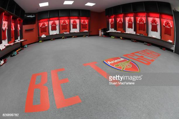 The Arsenal changing room before the FA Community Shield match between Chelsea and Arsenal at Wembley Stadium on August 6 2017 in London England