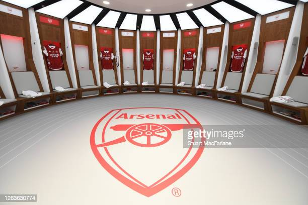 The Arsenal changing room before the FA Cup Final match between Arsenal and Chelsea at Wembley Stadium on August 01 2020 in London England Football...