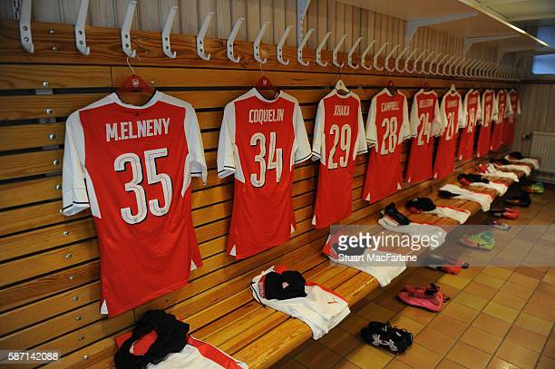 The Arsenal changing room before the pre season friendly between Arsenal and Manchester City at Ullevi on August 7 2016 in Gothenburg Sweden