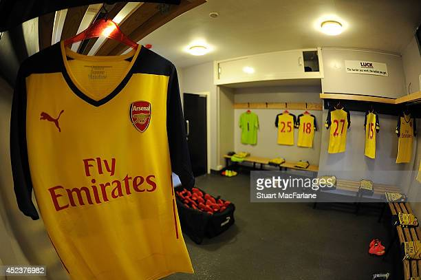 The Arsenal changing room before the pre season match between Borehamwood and Arsenal at Meadow Park on July 19 2014 in Borehamwood England