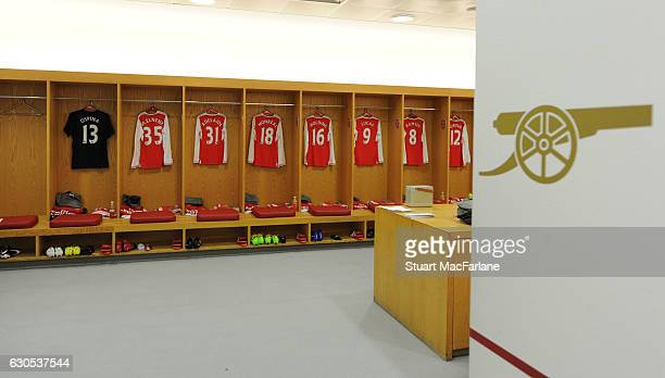 The Arsenal changing room before the Premier League match between Arsenal and West Bromwich Albion at Emirates Stadium on December 26 2016 in London...