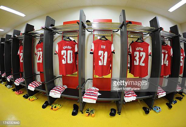 The Arsenal changing room before the preseason Asian Tour friendly match between Nagoya Grampus and Arsenal at Toyota Stadium on July 22 2013 in...