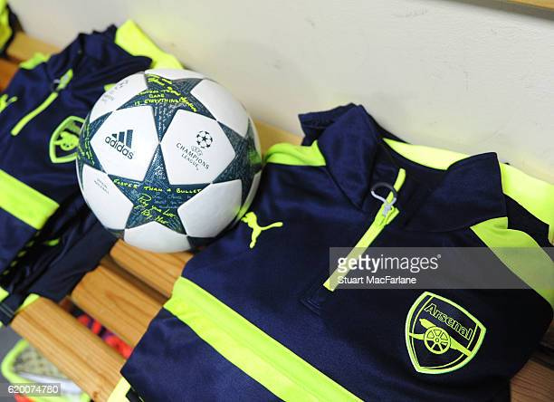 The Arsenal changing room before the UEFA Champions League match between PFC Ludogorets Razgrad and Arsenal FC at Vasil Levski National Stadium on...