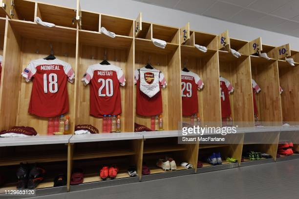 The Arsenal changing room before the UEFA Europa League Round of 32 First Leg match between BATE Borisov and Arsenal at Borisov Arena on February 14...