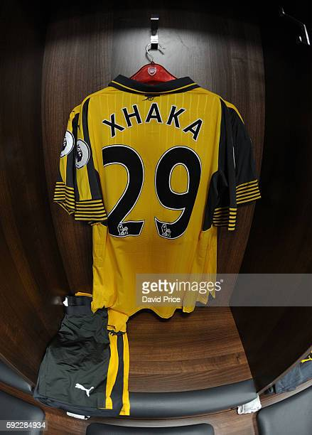 The Arsenal changing room with the away kit laid out before the Premier League match between Leicester City and Arsenal at The King Power Stadium on...