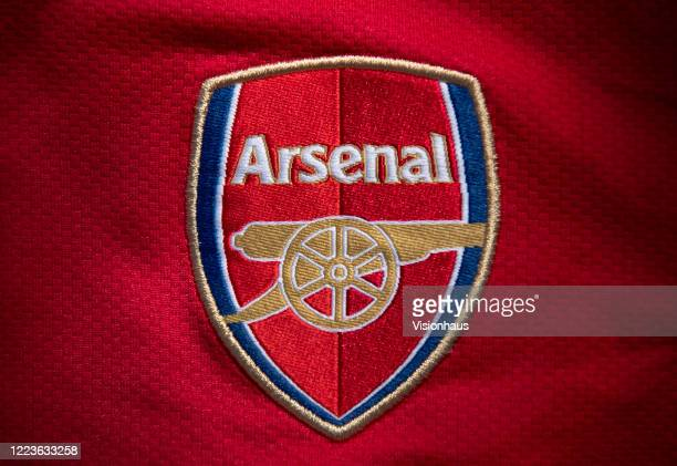 The Arsenal club crest on the first team home shirt displayed on May 6 2020 in Manchester England