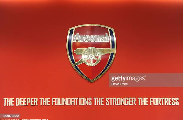 The Arsenal crest in the players entrance ahead of the UEFA Champions League Group F match between Arsenal and Borussia Dortmund at Emirates Stadium...