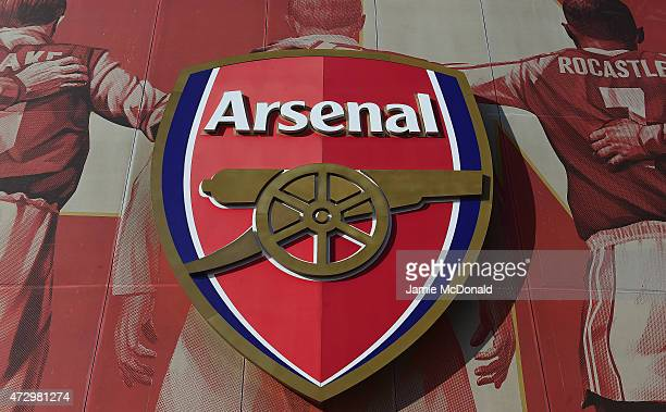 The Arsenal crest is seen ahead of the Barclays Premier League match between Arsenal and Swansea City at Emirates Stadium on May 11 2015 in London...