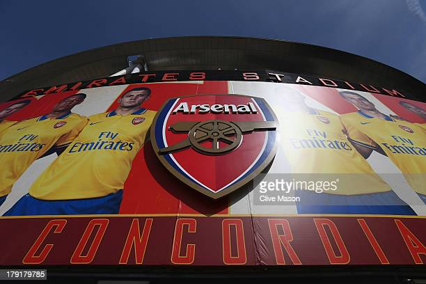 The Arsenal crest is seen outside the stadium ahead of the Barclays Premier League match between Arsenal and Tottenham Hotspur at Emirates Stadium on...
