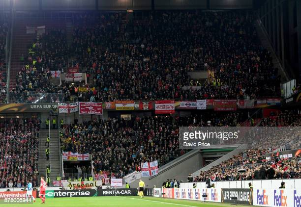 The Arsenal fans in the away section of the stadium during the UEFA Europa League group H match between 1 FC Koeln and Arsenal FC at...