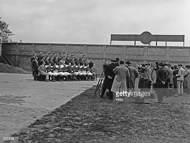 The Arsenal FC team pose for their FA Cup photo with manager Herbert Champan 21st April 1927