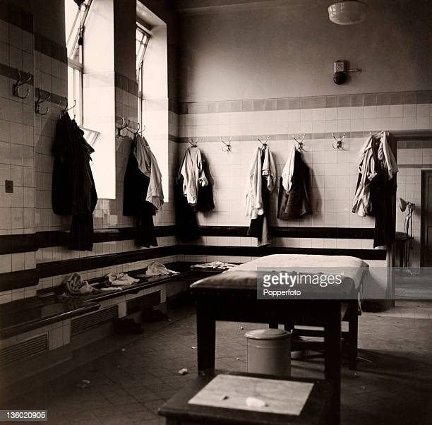 The Arsenal Football Club dressing room at Highbury in London circa October 1947