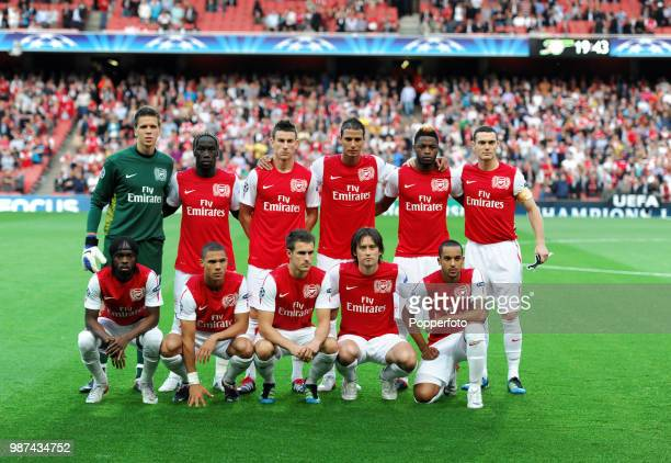 The Arsenal football team prior to the UEFA Champions League playoff first leg match between Arsenal and Udinese at the Emirates Stadium in London on...