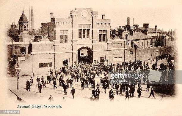 The Arsenal gates at Woolwich in London circa 1904