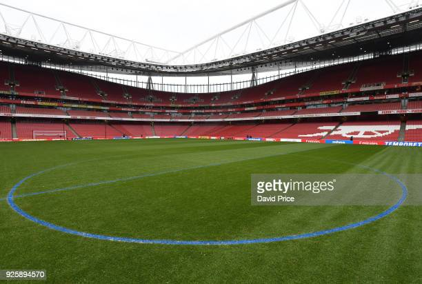 The Arsenal groundstaff mark out the pitch with blue paint before the Premier League match between Arsenal and Manchester City at Emirates Stadium on...