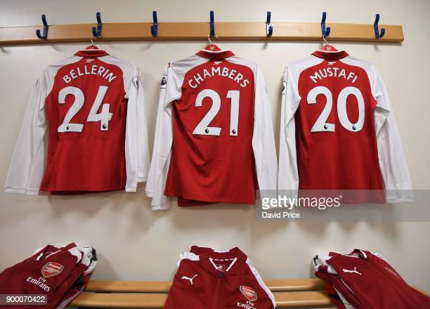 The Arsenal kit in the changing room before the Premier League match between West Bromwich Albion and Arsenal at The Hawthorns on December 31 2017 in...