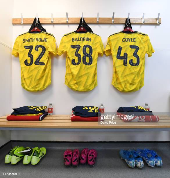 The Arsenal kit in the changingroom before the Leasingcom match between Northampton Town and Arsenal U21 at PTS Academy Stadium on August 27 2019 in...