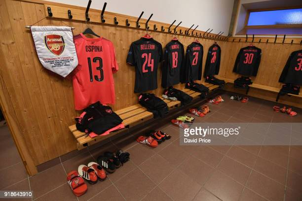 The Arsenal kit laid out in the changingroom before UEFA Europa League Round of 32 match between Ostersunds FK and Arsenal at the Jamtkraft Arena on...