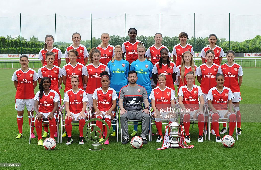 The Arsenal Ladies team group during their photocall at London Colney on June 16, 2016 in St Albans, England.