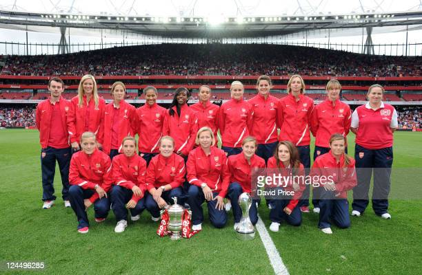 The Arsenal Ladies with the WSL Trophy and FA Cup Trophy during the Barclays Premier League match between Arsenal and Swansea City at Emirates...