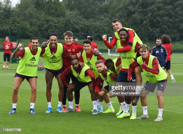 The Arsenal players after a training session at London Colney on July 27 2019 in St Albans England