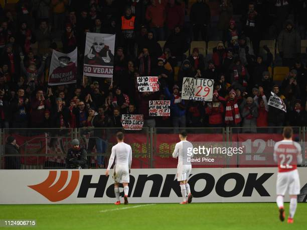 The Arsenal players go to the fans after the UEFA Europa League Round of 32 First Leg match between BATE Borisov and Arsenal on February 14 2019 in...