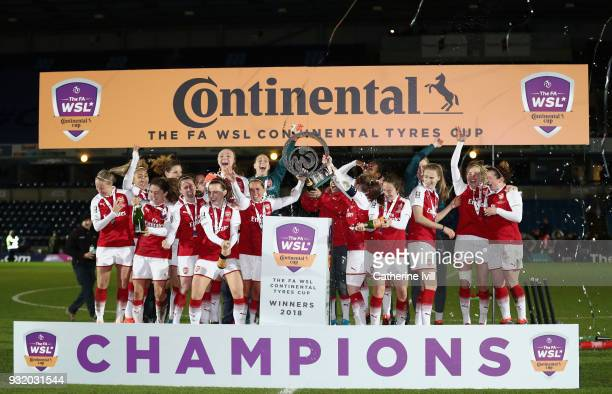 The Arsenal squad lift the Continental Cup after winning the WSL Continental Cup Final between Arsenal Women and Manchester City Ladies at Adams Park...