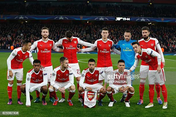 the Arsenal starting XI Arsenal's Chilean striker Alexis Sanchez Arsenal's German defender Shkodran Mustafi Arsenal's English defender Carl Jenkinson...