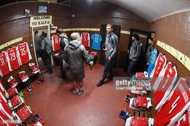The Arsenal team arrive in the away changing room before the Emirates FA Cup Fifth Round match between Sutton United and Arsenal on February 20 2017...