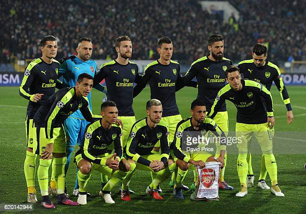 The Arsenal team before the UEFA Champions League match between PFC Ludogorets Razgrad and Arsenal FC at Vasil Levski National Stadium on November 1...