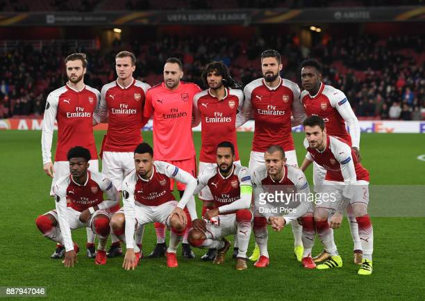 The Arsenal team before the UEFA Europa League group H match between Arsenal FC and BATE Borisov at Emirates Stadium on December 7 2017 in London...