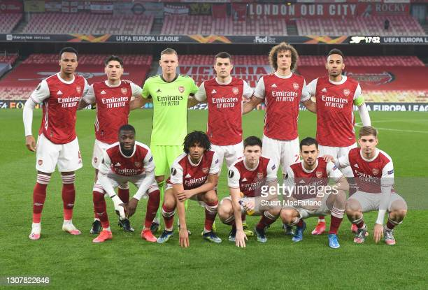 The Arsenal team before the UEFA Europa League Round of 16 Second Leg match between Arsenal and Olympiacos at Emirates Stadium on March 18, 2021 in...
