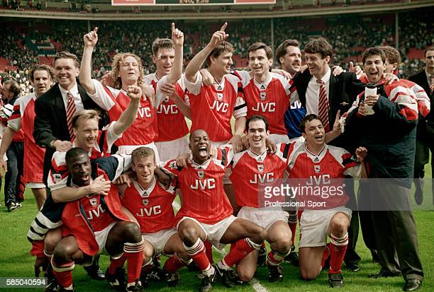 The Arsenal team celebrate after their 10 victory over Tottenham Hotspur in the FA Cup SemiFinal at Wembley Stadium in London 4th April 1993 Back row...