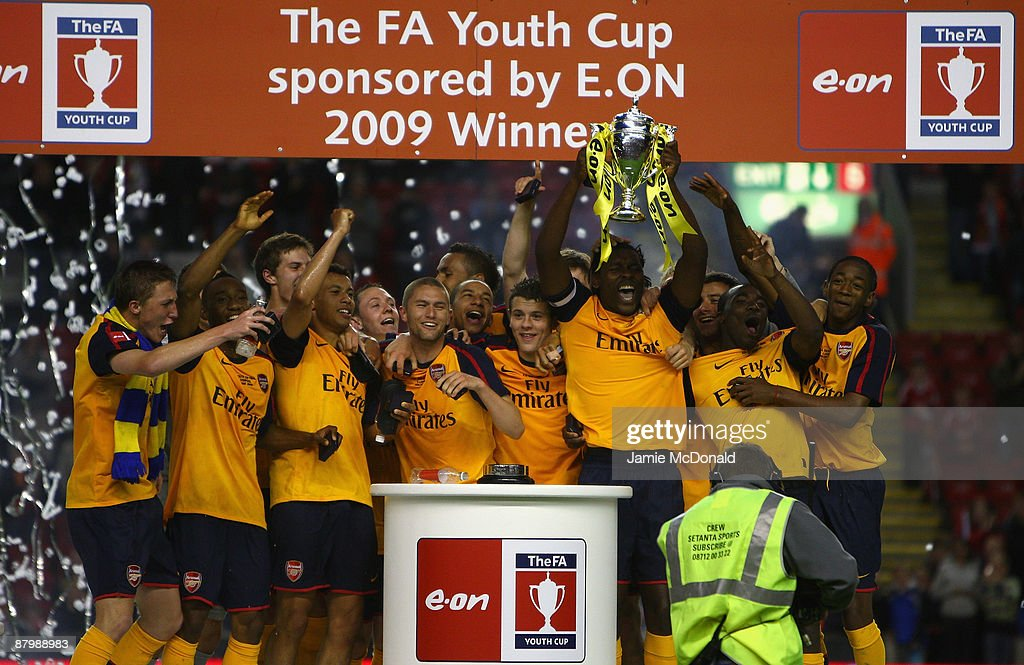 The Arsenal team celebrate winning the FA Youth Cup during the second leg of the FA Youth Cup final sponsored by E.ON, between Liverpool and Arsenal at Anfield on May 26, 2009 in Liverpool, England.