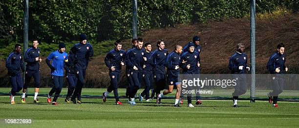 The Arsenal team during a training session ahead of the UEFA Champions League Round of 16 second leg match against Barcelona at London Colney on...