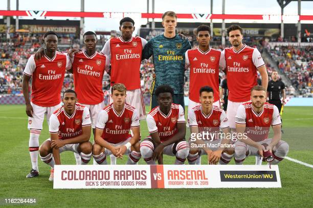 The Arsenal team line up before the pre season friendly between Colorado Rapids and Arsenal at Dick's Sporting Goods Park on July 15, 2019 in...