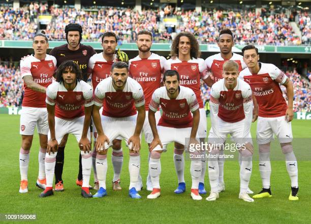 The Arsenal team line up before the Preseason friendly between Arsenal and Chelsea on August 1 2018 in Dublin Ireland